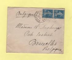 Gare De Bernay - Eure - 1921 - Destination Belgique - 25c Semeuse - Marcophilie (Lettres)