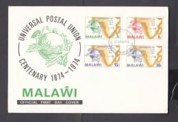 Malawi, 1974 Universal Postal Union Centenary,  First Day Cover, - Malawi (1964-...)