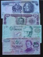 (P) URUGUAY: Lote De 4 Billetes Varios Años (B607) - Uruguay