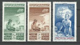 """Oceanie Aerien Yt 4 à 6 (PA 4 à 6) """" Protection De L´enfance """" 1942 Neuf* - Oceania (1892-1958)"""