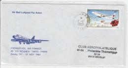 Premier Vol Nouméa Taipei Taiwan Paris 1993 - Air France - Lettre Brief Cover Calédonie - Erstflug Flight - Briefe U. Dokumente