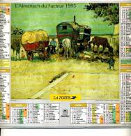 CALENDRIER DU FACTEUR 1995 ALMANACH  PEINTURE VAN GOGH CHATEAU DE CARDEVILLE CHAUMIERE LES ROULOTTES - Calendriers