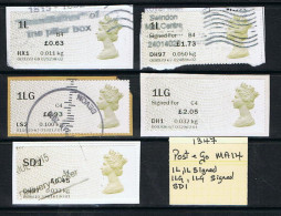 Post & Go Queens Head 5 Different Labels MA14 1L 1LG SD1 USED - Great Britain