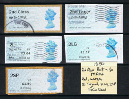 Post & Go Queens Head 5 Different Labels MA14 2nd Large 2L 2LG 2SP USED - Great Britain