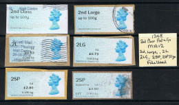 Post & Go Queens Head 6 Different Labels MA12 2nd 2L 2LG 2SP & Signed USED - Great Britain