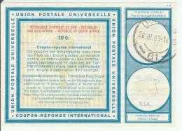 Coupon Réponse RSA South Africa -  Modèle Vienne 19 - Reply IRC CRI IAS - 10 Cents - Durban 1969 - Afrique Du Sud (1961-...)