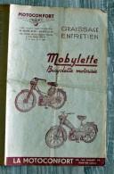 Dépliant/Brochure Mobylette/Moto Motoconfort Graissage Entretien, Pantin - Werbung