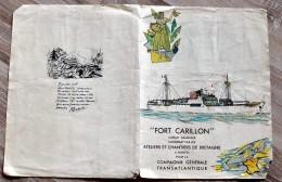 """Protège Cahier """"FORT CARILLON"""" Bateau Chantier De Bretagne - Compagnie Générale Transatlantique - Nantes - Protège-cahiers"""