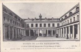 Ancien PARIS 8° Dessin Sur Canson ND N° 79 Cour LYCEE Condorcet Ancien LYCEE Bonaparte CLOITRE Des Capucins - Distretto: 08