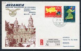 1971 Liechtenstein Vaduz Registered Avianca Zurich - Bogota Colombia First Flight Cover - Covers & Documents