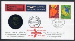 1971 Liechtenstein Express Vaduz - Zurich - Hamburg, Germany First Flight Postcard Swissair LIBA - Covers & Documents