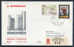 1975 Liechtenstein Vaduz Registered Swissair First Flight Cover Zurich - Toronto, Canada - Covers & Documents