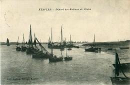 Cpa ETAPLES 62 Départ Des Bateaux De Pêche - Etaples