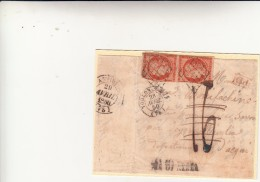 Ceres, 40+40 Arancio Scuro In Frammento Di Cover. Doppio Porto+PD Rosso+ Tassazione Concellata A Toulon Per Dego 1850 - 1849-1850 Ceres
