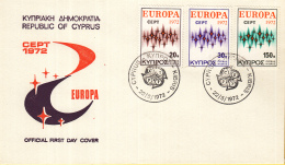 Cyprus - FDC 22-5-1972 - Europa/CEPT - Cyprus/Kibris - M 374-376 - 1972