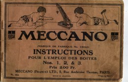 Catalogue 1916 !! 60 Pages MECCANO Instructions Boites Nos 1.2 Et 3 Très Illustrés 3 Scans - Autres