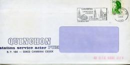 Flamme Architecture,eglise,beffroi,Cambrai Cité Historique,Liberté Gandon 1.70 Seul Sur Lettre 20.2.1985,Quinchon Acier - Kirchen U. Kathedralen