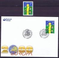 Faroe Islands; 2000.  Europa - CEPT; Both Mint And FDC. - Europa-CEPT