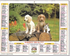 CALENDRIER - ALMANACH 1986 DES PTT - Départements 75-92-93-94 - Chiens-chats - Calendriers