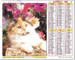 CALENDRIER - ALMANACH 1989 DES PTT - Départements 75-92-93-94 - Chats - Calendriers