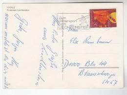 1968 LIECHTENSTEIN COVER  Stamps ST NICOLAUS (postcard Vaduz) SLOGAN Pmk SKIIER Skiing Ski Sport - Liechtenstein