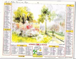 CALENDRIER - ALMANACH 1990 DES PTT - Départements 75-92-93-94 - Paysages - Calendars