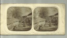 Anciennephoto Stereoscoop -  Boerderij - Rare - Stereoscopio