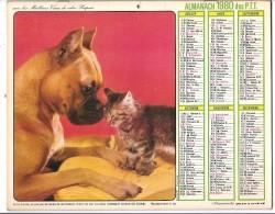 CALENDRIER - ALMANACH DU FACTEUR 1980  - Départements 75-92-93-94 - Chiens/chat - Calendriers