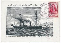 """Carte Locale - Journée Du Timbre 1947 - LE HAVRE  + VIGNETTE """"Le Havre Renaîtra Sur Ses Ruines"""" ... - Giornata Del Francobollo"""