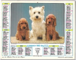 CALENDRIER - ALMANACH 1983 Des PTT  - Départements 75-92-93-94 - CHIENS0 - Calendars