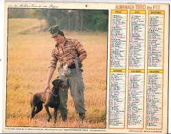CALENDRIER - ALMANACH 1980 Des PTT  - Départements 75-92-93-94 - CHASSEUR/PECHEUR - Calendars