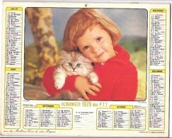 CALENDRIER - ALMANACH 1979 Des PTT  - Départements 75-92-93-94 - ENFANT/CHIEN/CHAT - Calendriers
