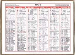 CALENDRIER 1976 - Format 29 X 21.5 Cm - Calendars