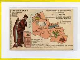 Carte Publicitaire Geographique.  Emulsion Scott.  Boulogne Montreuil Arras Bethune St Omer - France