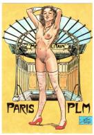 CPSM PIN UP FEMME SEXY NU CHARLES BERG P L M N° 1 PARIS BOUCHE DE METRO A LA GLOIRE DE BIENVENUE ET GUIMARD SIGNEE BERG - Illustrateurs & Photographes