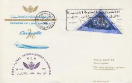 Enveloppe  LIBYE   1er  Vol    TRIPOLI - GENEVE - LONDRES    1966 - Libia