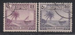 Maldive Islands 1950 Cancelled, Sc# 26-27, SG 27-28 - Maldivas (...-1965)