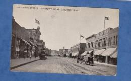 CPA - LEWISTOWN , Montana - Main Street - Attelage - Début 1910 - Drapeau Américain - American Flag - Magasin Shop - Etats-Unis
