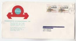 PORTUGAL  COVER  Illus ADVERT PGS TRANSPORTES , 2x 20.00 Stamps To Germany - 1910-... République