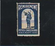 VIGNETTE REMIREMONT - VOSGES - FETE DES CHASSEURS  -1935 - Commemorative Labels