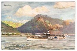 RB 1087 - Early Germany Postcard - Steamship Paddlesteamer - Burg Katz - Koln-Dusseldorger - Paquebote
