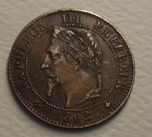 1862 - France - DEUX CENTIMES, NAPOLEON III, (A) Tête Laurée, KM 796.4, Gad 104 - Frankrijk