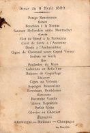 VP4332 - Menu - Diner Du 8 Avril 1890 - Menus