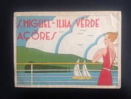 Portugal Tourism Tourisme Turismo S. Miguel Açores Ilha Verde Grande Desdobrável Com Publicidade Liner Cruiser Companies - Saisons & Fêtes