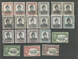 BRUNEI 1964-72 SULTAN USED INCLUDING SHADES AND VARIOUS PAPERS AS SHOWN HIGH CV - Brunei (1984-...)