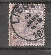 BELGIQUE, 1883, Leopold II , Yvert N° 41 , 50 C Violet , Obl LIEGE , Cote 35 Euros , TB ! - 1883 Leopold II