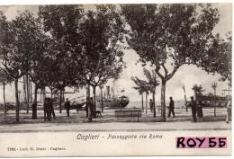 Sardegna-cagliari Passeggiata Via Roma Animatissima Bella Veduta Primi 900 - Cagliari