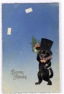 Relief - Gaufrée - Embossed - Prage - Chat En Velours - TBE Superbe - Cats