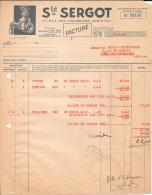 PARIS Xéme Sté SERGOT  Facture - 1900 – 1949