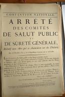 AFFICHE REVOLUTION. FAC-SIMILÉ - 1 - CONVENTION NATIONALE. - ARRÊTÉ DES COMITÉS DE SALUT PUBLIC ET DE SÛRETÉ GÉNÉRALE, - Afiches